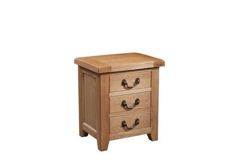 Stourbridge Oak 3 Drawer Bedside Chest