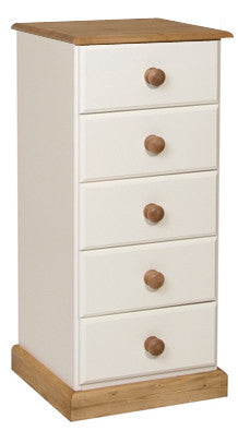 Torridge Painted/Pine 5 Drawer Narrow Chest