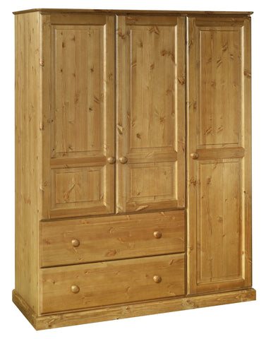 Tenby Pine 2 Deep Drawer Triple Wardrobe