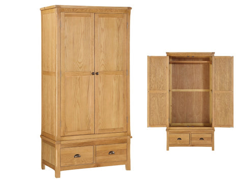 French Oak 2 Door Wardrobe with Drawers