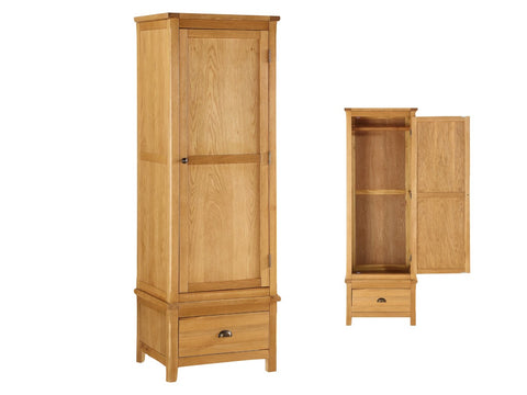 French Oak 1 Door Wardrobe with Drawer