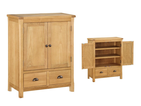 French Oak 2 Drawer Chest / Linen Press.