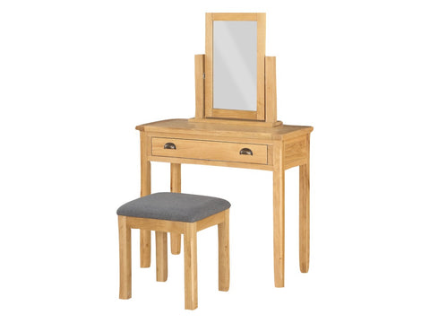 French Oak Vanity Unit / Dressing Table with Stool.