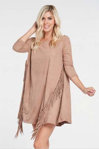 DRESS FRANGES- Peach, black or khaki green, this is the mini ultra-shade summer dress for June!