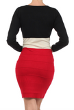 DRESS MONACO- Slinky and stretchy in red and black, with a large Ivory colored waistline,this is your best September look ever!.