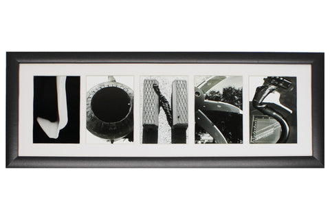 5 Letter Black & White Collage Frame