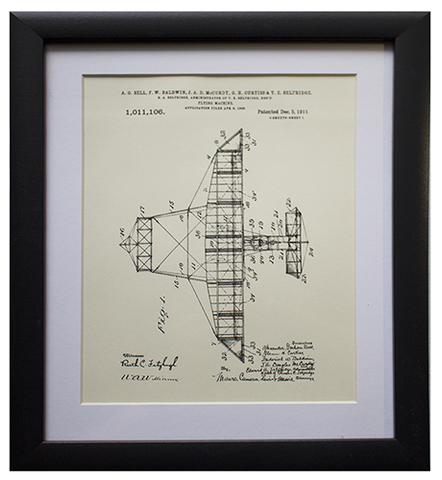 "Original Patent Drawing: GLENN CURTIS & ALEXANDER GRAHAM BELL'S ""FLYING MACHINE"""