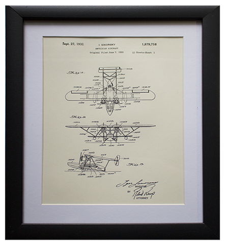 Original Patent Drawing: SIKORSKY AMPHIBIAN AIRCRAFT