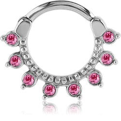 SEPTUM CLICKER - SSS JEWELLED X 8 DESIGNER PINK