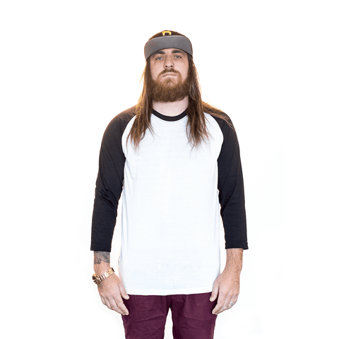 3/4 WHITE & BLACK RAGLAN