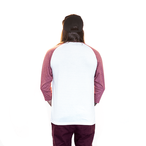 3/4 BURGUNDY & WHITE RAGLAN