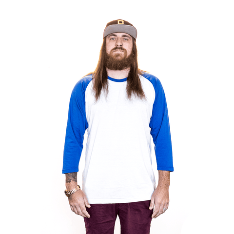 3/4 WHITE & BLUE RAGLAN