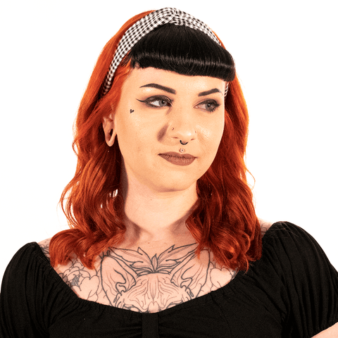 OPHIA | KNOTTED BLACK AND WHITE CHECK HEADBAND - Off Ya Tree