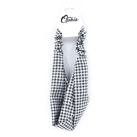 OPHIA | BLACK AND WHITE CHECK HEADBAND