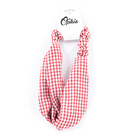 OPHIA | RED AND WHITE CHECK HEADBAND