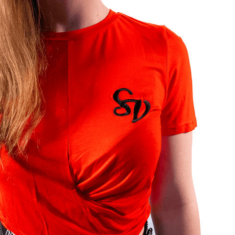 SWEET VENGEANCE | SV EMBROIDED RED CROP - Off Ya Tree