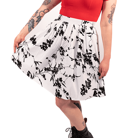 OPHIA | 50's BLACK & WHITE FLORAL SKIRT