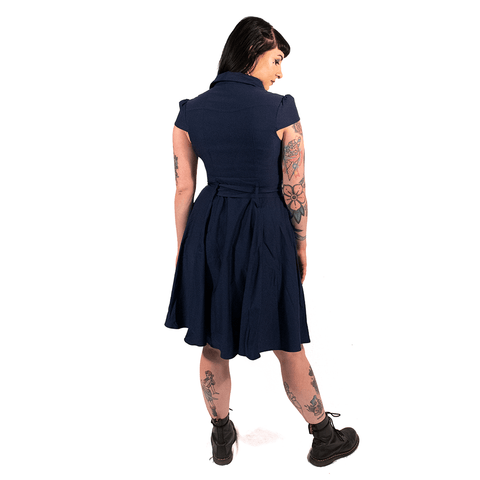 OPHIA | 50's NAVY SHORT SLEEVE DRESS