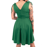 OPHIA | 50's SLEEVELESS SHOULDER TIE V NECK DRESS