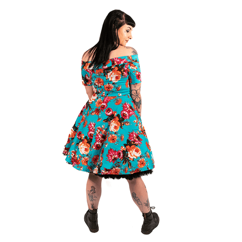 OPHIA | 50's AQUA FLORAL OFF THE SHOULDER DRESS