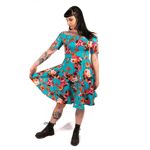 OPHIA | 50's AQUA FLORAL OFF THE SHOULDER DRESS - Off Ya Tree