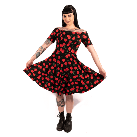 OPHIA | 50's CHERRY OFF THE SHOULDER DRESS - Off Ya Tree