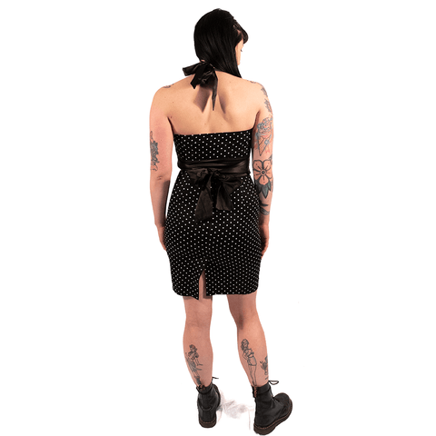 OPHIA | BLACK HALTER NECK PENCIL DRESS