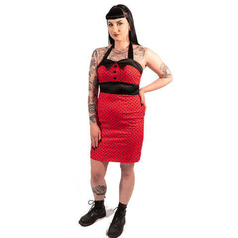 OPHIA | RED HALTER NECK PENCIL DRESS