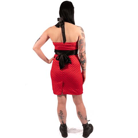 OPHIA | RED HALTER NECK PENCIL DRESS - Off Ya Tree