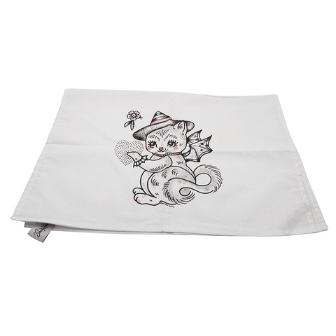 SOURPUSS | KITTEN WITH WINGS TEA TOWEL - Off Ya Tree