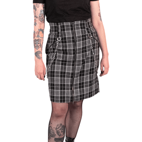 SWEET VENGEANCE | TARTAN GREY PENCIL SKIRT - Off Ya Tree