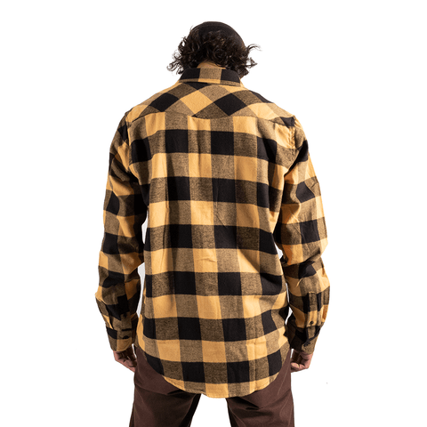 TREE HOUSE CLOTHING | YELLOW FLANNEL LONG SLEEVE SHIRT - Off Ya Tree