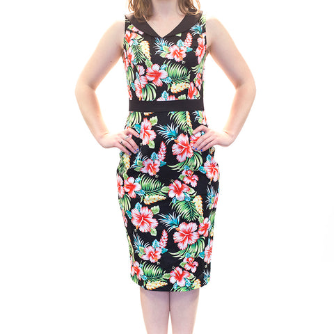 Ophia Tiki Print Pin up dress