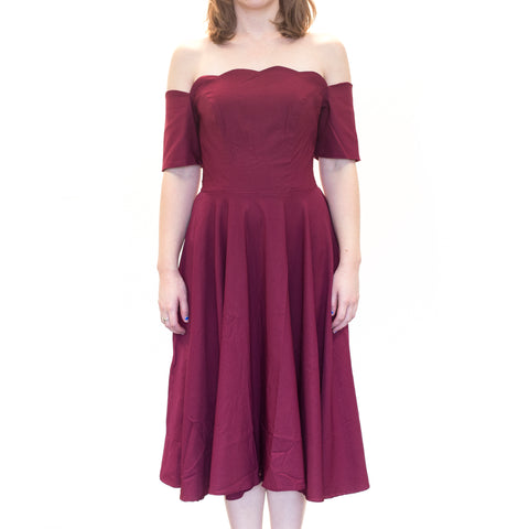 Ophia Maroon Pin Up Dress