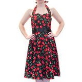 OPHIA CHERRY BERRY HALTER DRESS