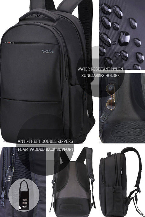"YAZAHI Water Resistant Anti-Theft Vegan Travel 17"" Laptop Backpack-YAZAHI"