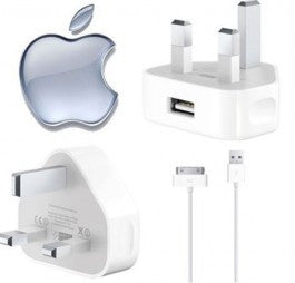 Original Apple iPhone 4, 3GS, 3G, iPod Main USB Charger Genuine A1299 Adapter with USB Lead - Evertop Accessories Shop