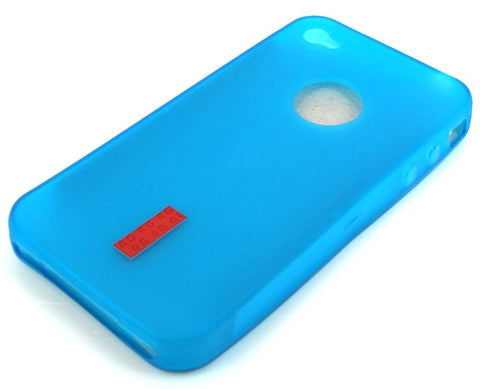 iPhone 4 Protective Silicone Skin Case / with Logo Cutout / Light Blue - Evertop Accessories Shop