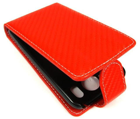 HTC Desire HD Leather Carry Case In Cadmium Red - Evertop Accessories Shop