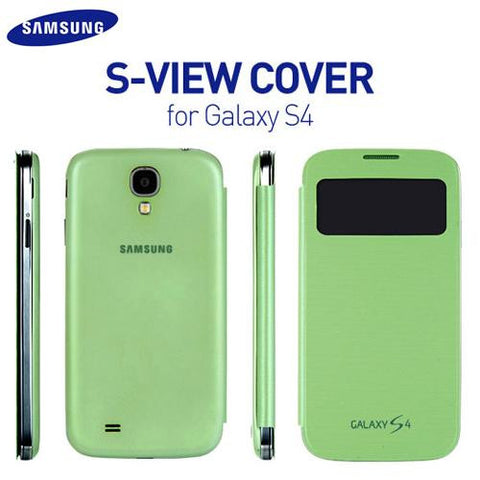 Genuine Samsung Galaxy S4 i9500 i9505 S-View Flip Cover Case in Green Colour EF-C1950BGEGWW - Evertop Accessories Shop