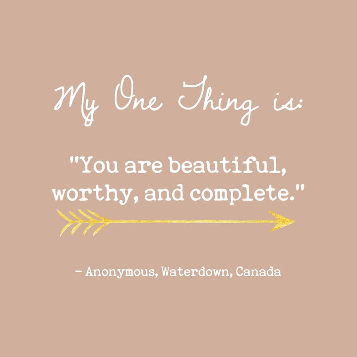 Anonymous. One Thing Message From Waterdown, Canada.