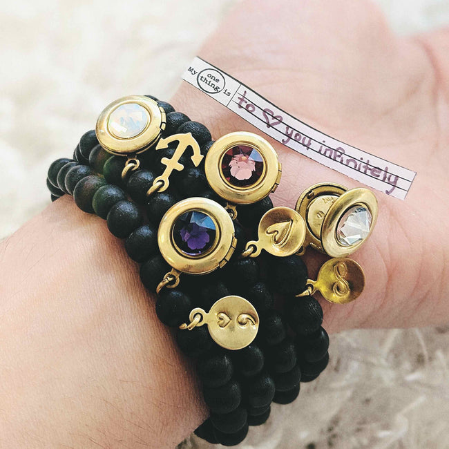 SYMBOLS OF EMPOWERMENT - 4 WOOD BEAD LOCKET BRACELET SET - One Thing Lockets | Empowering People With Their Own Message