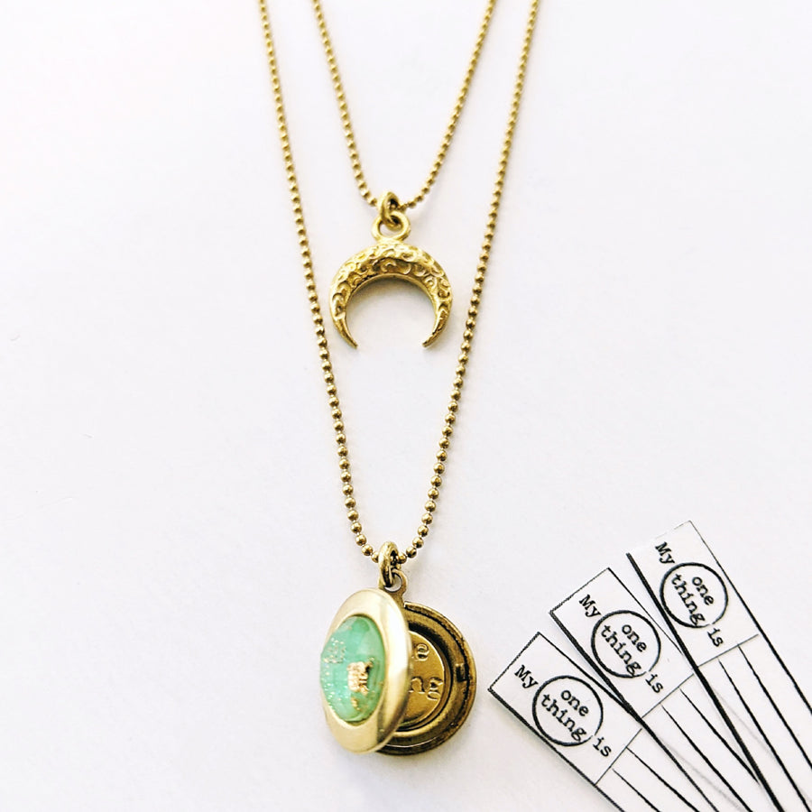 "WEAR IT 3 WAYS! - ADJUSTABLE ""ALA MOANA"" MOON LOCKET WRAP NECKLACE - One Thing Lockets 