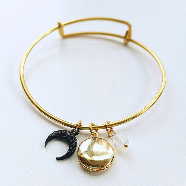 """APOLLO"" MOON & LOCKET CHARM BANGLE - One Thing Lockets 