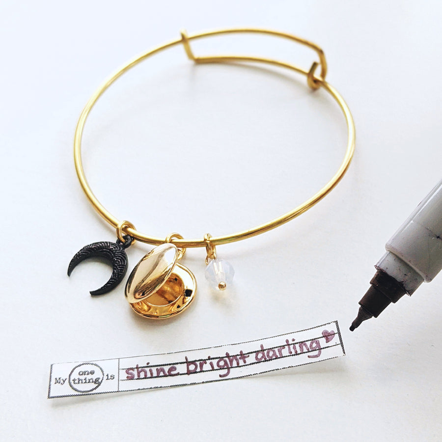 """APOLLO"" MOON & LOCKET CHARM BANGLE - One Thing Lockets"