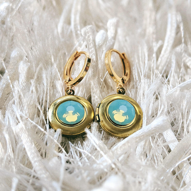 """AQUA LUSH"" SWAROVSKI LOCKET EARRINGS (Hypo-allergenic & ultra-light weight!) - One Thing Lockets"