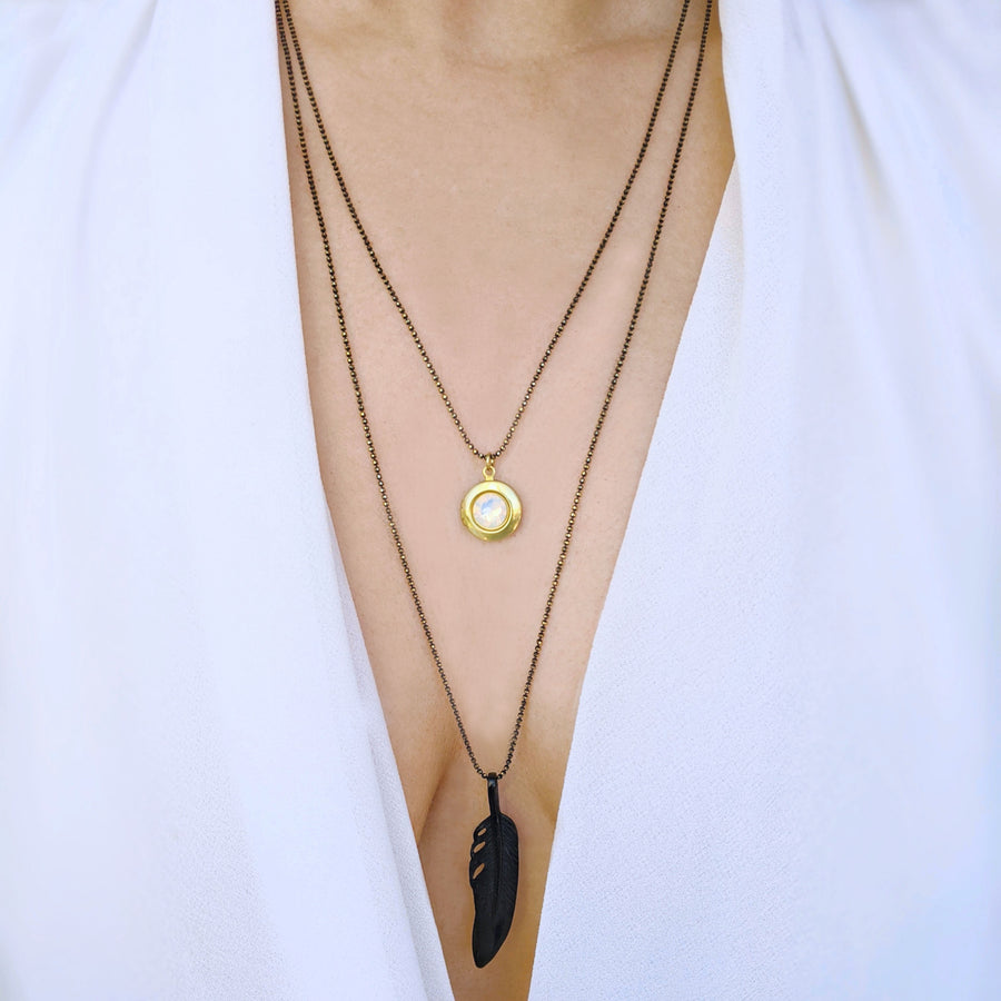 "WEAR IT 3 WAYS! - ADJUSTABLE ""AVA"" FEATHER & BLACK BRASS LOCKET WRAP NECKLACE - One Thing Lockets"