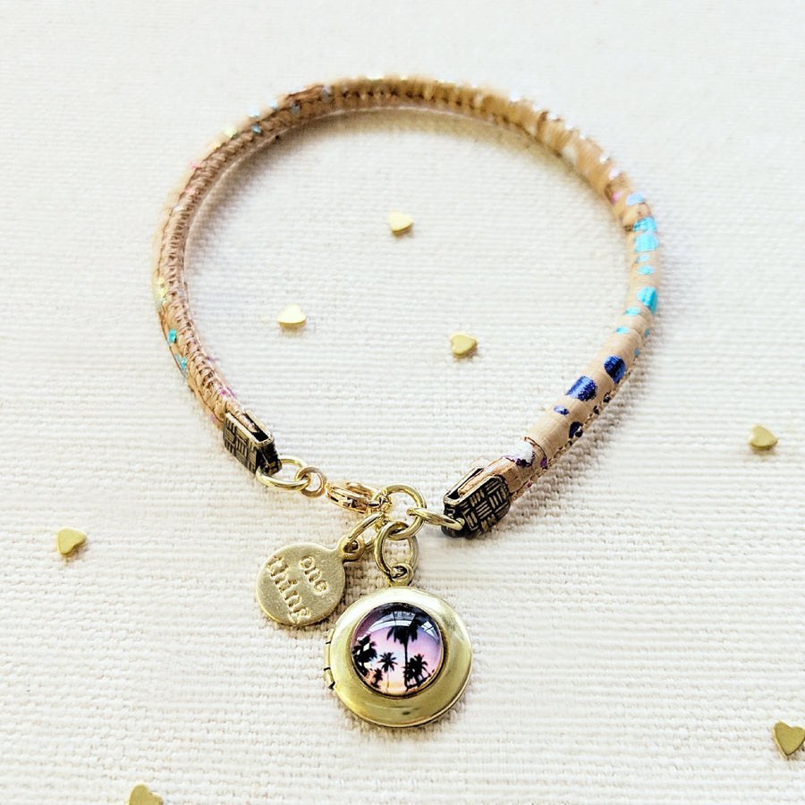 """BALI RETREAT"" LOCKET BRACELET ON CORK (VEGAN) - One Thing Lockets 