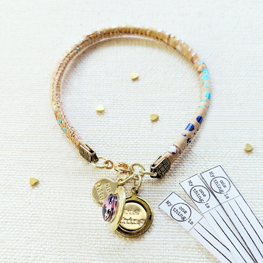 NEW! - BALI RETREAT LOCKET BRACELET ON CORK (VEGAN) - One Thing Lockets | Empowering People With Their Own Message