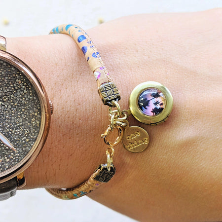 BALI RETREAT LOCKET BRACELET ON CORK (VEGAN) - One Thing Lockets | Empowering People With Their Own Message